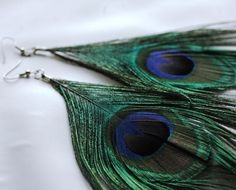 Flowing Peacock Feather Earrings by LeafLee on Etsy, $8.00