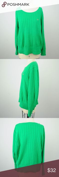 Lacoste Sweater Green Cable Knit Boat Neck XL Lacoste Womens Sweater Sz 46 XL Green Cable Knit 100% Cotton Boat Neck L/S K12 Description   Material: 100% Cotton Size: 46 = US XL  Measurements (in inches):  Armpit-to-armpit: 23.5 Length: 25.5 **All our products come from a clean and smoke-free household.** Lacoste Sweaters Crew & Scoop Necks