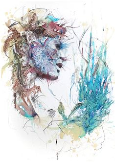 """Working primarily with calligraphy ink and liquids like tea, brandy and whisky, Carne Griffiths draws both human and floral forms in the most unique and abstract way. """"Alcohol has a curious effect on ink, taking the colour deep into the paper very quickly – it behaves very differently to water and gives permanence to some inks"""" explains Carne."""