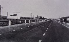 1935 - Baťov-Zlín Highway, a three-lane roadway with bicycle lanes, lined with rail tracks, with the first road billboards in Czechoslovakia #batashoes