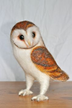 Needle Felted Barn Owl by YvonnesWorkshop on Etsy, $125.00
