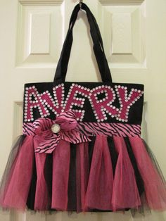 Personalized Tutu Tote Bag by WickedlyCrafty on Etsy, $25.00    Facebook: https://www.facebook.com/pages/Wickedly-Crafty/157013361024629  Etsy: http://www.wickedlycrafty.etsy.com
