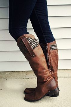 Studded knee high boots. Love. Need zipup knee high boots in black and brown. Love studs.