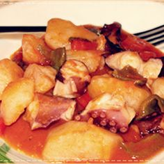 Receta de pulpo guisado en olla rápida con patatas
