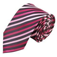 Een zijde stropdas met paarse/ roze en zwarte strepen.