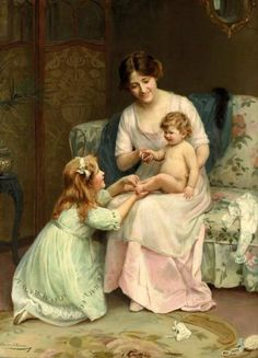 """""""This Little Pig Went To Market"""", by English artist - Arthur John Elsley Oil on canvas. Munier, Victorian Paintings, Image Nature, Art Ancien, Images Vintage, Little Pigs, Fine Art, Mothers Love, Happy Mothers"""