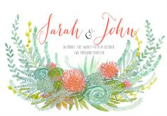 Hand Drawn Floral Wreath - Monogram, names, flowers, ferns, succulents, orchid, pine, feathers, woodland, tropical, watercolor, illustration