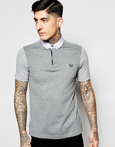 Fred Perry Polo Shirt with Mix Pique Slim Fit