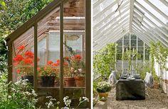 dining in greenhouse Growing Gardens, Simple Interior, Old Windows, Glass House, Autumn Home, Indoor Outdoor, Garden Design, Houzz, Home And Garden