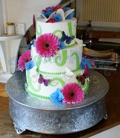 Butterflies and Flowers Wedding Cake