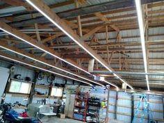 Inexpensive garage lights from led strips shop lighting ideas . best lighting for garage shop ideas workshop . Led Garage Lights, Led Shop Lights, Garage Lighting, Shop Lighting, Lighting Ideas, Shelf Lights, Lighting Stores, Lighting Design, Garage Shop
