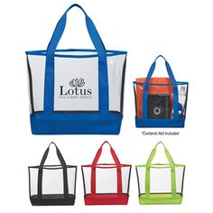 The Custom Clear Casual Tote Bag is a sturdy PVC tote that not only repels water, but is a great security-conscious promotional product. Showcase your brand name or logo design while offering this tote bag perfect for schools or sports events.  Made Of PVC And 600D Polyester 22″ Handles Spot Clean/Air Dry Meets CPSIA & Prop65 Limits Does Not Meet NFL size requirements