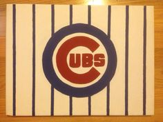 Chicago Cubs MLB Baseball Acrylic Canvas Painting by JolynnsPlace, $45.00