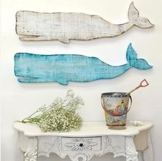 wood whales! Would look so cute in a beach house!