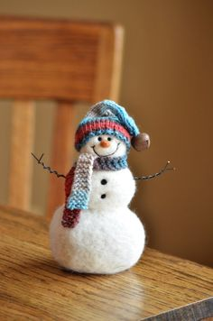 Wool Needle Felted Snowman by BearCreekDesign