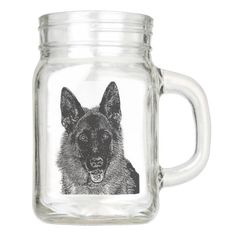 German Shepherd Mason jar