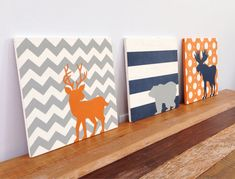 Set of Three Woodland Animals Painted on Wood, Chevron Art, Woodland Nursery, Rustic Wall Art, Navy Blue and Gray, Boys Room Decor on Etsy, $170.00