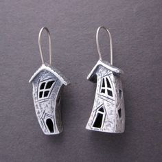 Crooked house earrings, Silver earrings with 14k wires. $175.00, via Etsy.  PMC??