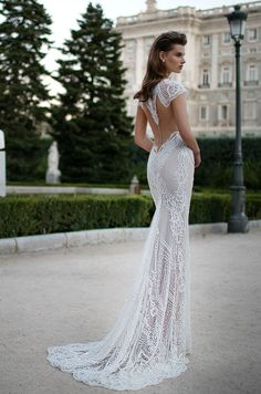 Berta beaded lace wedding dress with illusion back detail, Berta Spring 2016 Bridal Collection