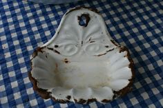 French vintage enamel white soap dish or by FromParisToProvence, €37.00