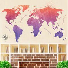 New World Map Home Room Kids Decor Vinyl Art Wall Decal Sticker Removable PVC