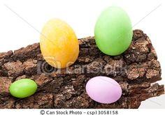 Stock Photo - Easter Eggs On Bark - stock image, images, royalty free photo, stock photos, stock photograph, stock photographs, picture, pictures, graphic, graphics