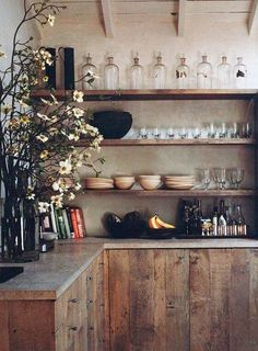 6 Motivated ideas: Minimalist Decor Simple Shelves minimalist home interior small.Minimalist Home Diy Drawers minimalist kitchen island colour. Rustic Kitchen Design, Farmhouse Style Kitchen, Home Decor Kitchen, Interior Design Kitchen, Kitchen Furniture, Rustic Furniture, Kitchen Ideas, Kitchen Colors, Country Kitchen
