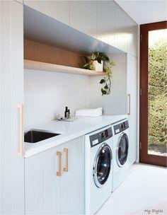 Laundry Decor, Laundry Room Organization, Laundry Room Design, Laundry In Bathroom, Basement Laundry, Laundry Closet, Laundry Storage, Laundry In Kitchen, Laundry Area
