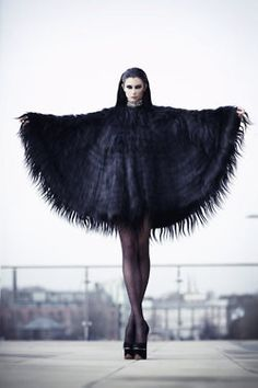 black wing shawl top