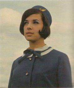 Olympic Airways uniform,1966-1968 Designer Coco Chanel Retro Advertising, Retro Ads, Vintage Ads, Olympic Airlines, Intelligent Women, Cabin Crew, Flight Attendant, Rare Photos, The Good Old Days