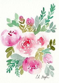 Pink Watercolor Flowers 5x7 original watercolor painting
