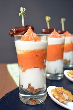 Trifle queso de cabra y membrillo, no idea what it actually is but try.creme fraiche, salmon mousse etc. Spanish Dishes, Spanish Tapas, Party Finger Foods, Snacks Für Party, Trifle, Tapas Menu, Catering, Food Texture, Small Desserts