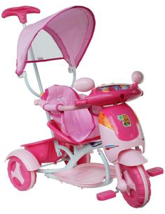 Triciclo Hyppo con capote e manico direzionale disponibile in 3 diversi colori, in offerta a soli 48,09€! #triciclo #capote #bambini #tricycle #kids #pink #blue #orange #pedalare #toy #toys #giochi