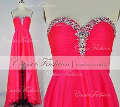 2014 Red Prom DressBeading Strapless High Low by CassieFashion