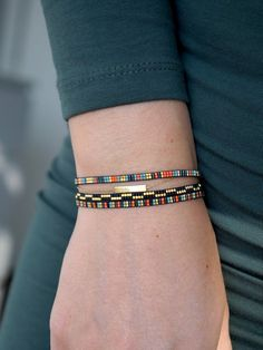 All bracelets are made with Miyuki beads, these are made from the smallest size MT beads. Miyuki beads are of Bead Loom Bracelets, Beaded Bracelet Patterns, Bead Loom Patterns, Woven Bracelets, Beaded Jewelry, Beading Patterns, Jewelry Bracelets, Jewellery, Miyuki Beads