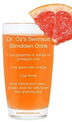 Dr.Oz Breakdown Fat Burner Juice.                                                                                                                                                                                 More #fatlossdiet Healthy Detox, Healthy Drinks, Easy Detox, Healthy Eating, Healthy Water, Healthy Smoothies, Diet Drinks, Healthy Sugar, Healthy Foods