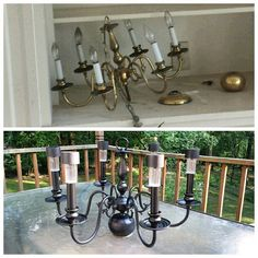Solar powered chandelier - before/after- rustoleum oil-rubbed bronze spray paint, 1.00 solar lights, a little gorilla glue. Thinking of mounting to a pole thru the umbrella hole on the table, or hanging from a nearby tree.