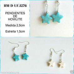 Pendientes-vintage-bohemio-de-howlite-Estrella-Color-blanco-o-azul-turquesa