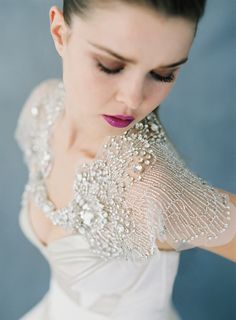 Carol Hannah - Phoenix Capelet This crystal adorned caplet will make a statement your wedding guests can't possibly forget! Photography: Matthew ReeHair, Makeup: Stacy Pitt of Styles on B, Nicole Sievers