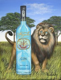 Magellan Gin Lion Painting by John Pacovsky