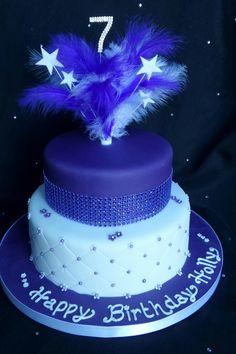 Diamante & feather 2 tiered birthday cake