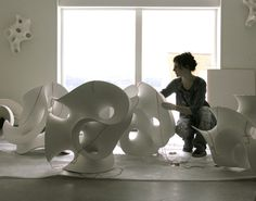 Like these pieces - Artist Eva Hild creates large ceramic sculptures - delicate, continuously flowing entities in thinbuilt clay. They reflect varying degrees of external and internal pressures, and how, as a consequence, perception of inner and outer space is changed or challenged. The artist at work....
