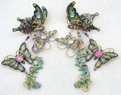 Lunch at the Ritz Butterfly Earrings - Garden Party Collection Vintage Jewelry