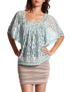 LEAF-PATTERNED LACE TOP  Charlotte Russe: $22.99