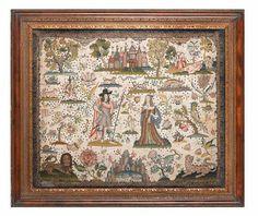 A fine needlework panel.English, 17th Century