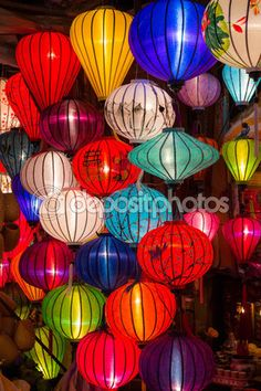 Paper lanterns on the streets of old Asian  town — Stock Image #93556884