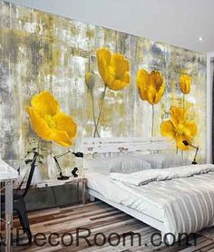 White Flowers Oilpainting Wallpaper Wall Decals Wall Art - Yellow flower wall decals