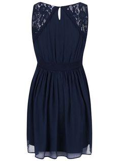 Tmavě modré šaty s krajkou Vero Moda Freja