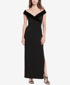 Lauren Ralph Lauren Velvet-Trim Off-The-Shoulder Gown - Black 10