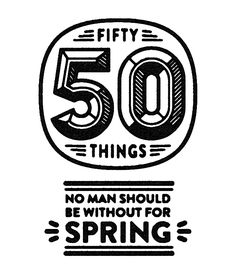 Introduction graphic and icons for an article about 'Fifty things no man should be without for spring'.
